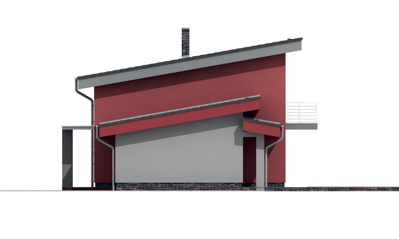 Pohľad 4. - Moderný dom s garážou a pultovými strechami