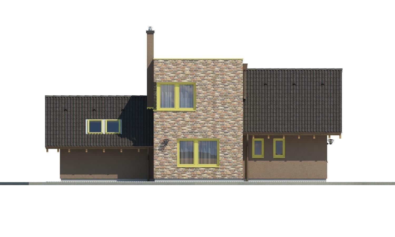 Pohľad 4. - Moderný rodinný dom s dvomi izbami na poschodí.