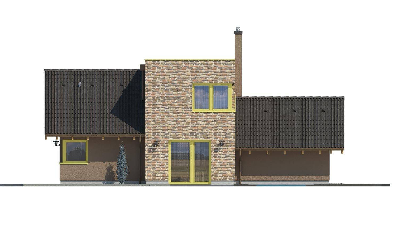 Pohľad 2. - Moderný rodinný dom s dvomi izbami na poschodí.
