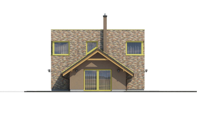 Pohľad 3. - Moderný rodinný dom s dvomi izbami na poschodí.