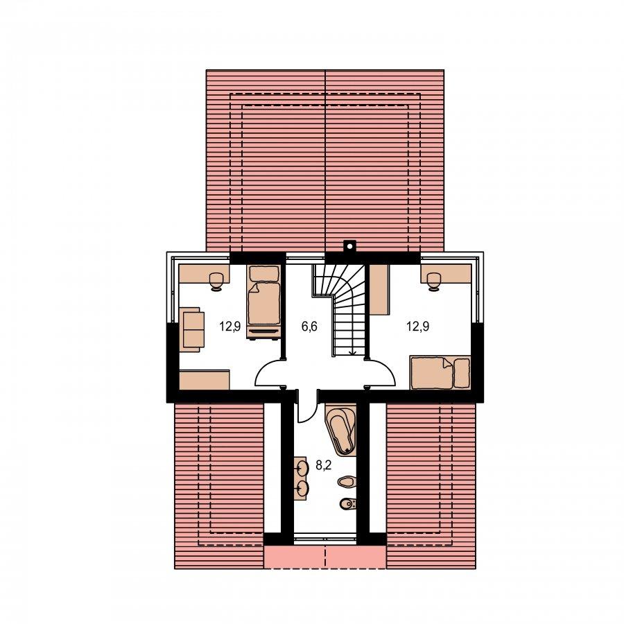 Pôdorys Poschodia - Moderný rodinný dom s dvomi izbami na poschodí