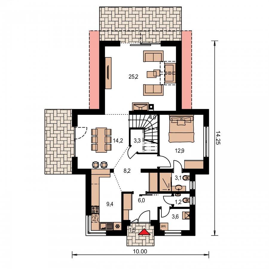 Pôdorys Prízemia - Moderný rodinný dom s dvomi izbami na poschodí