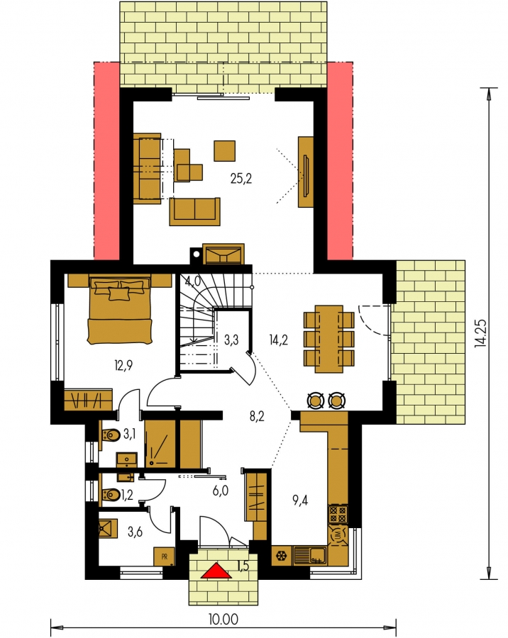 Pôdorys Prízemia - Moderný rodinný dom s dvomi izbami na poschodí.