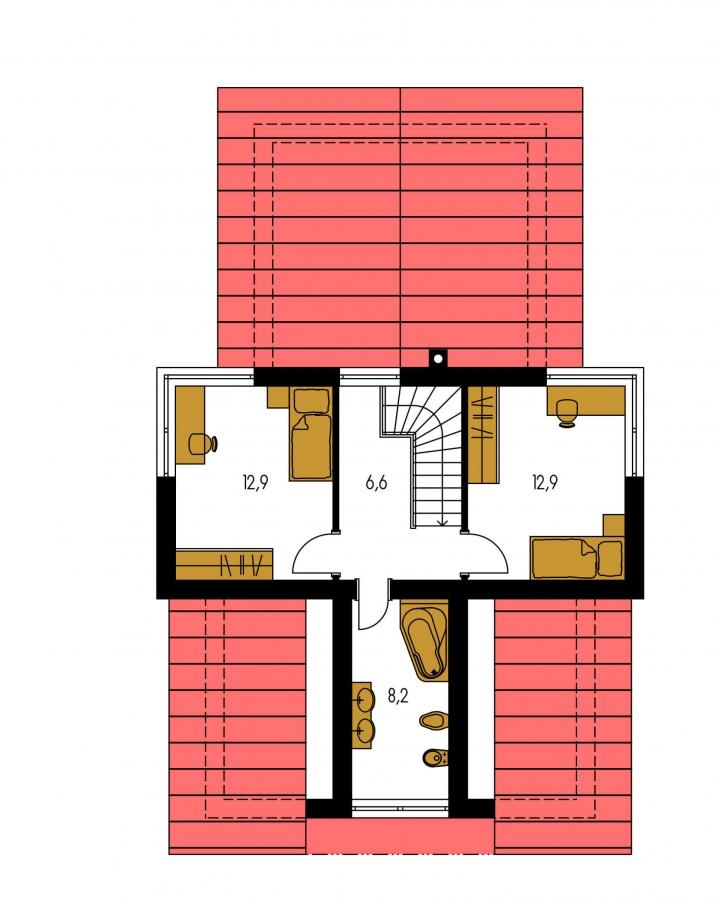 Pôdorys Poschodia - Moderný rodinný dom s dvomi izbami na poschodí.