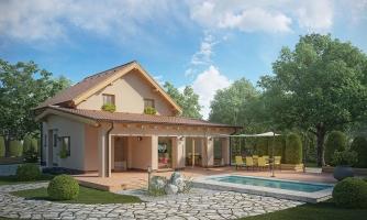 Moderný rodinný dom s prízemnou obývačkou a kuchynskou časťou