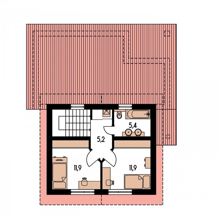 Pôdorys Poschodia - Moderný rodinný dom s prízemnou obývačkou a kuchynskou časťou