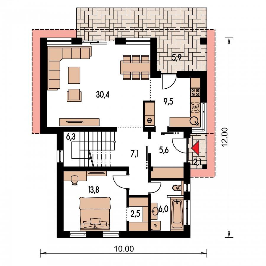 Pôdorys Prízemia - Moderný rodinný dom s prízemnou obývačkou a kuchynskou časťou
