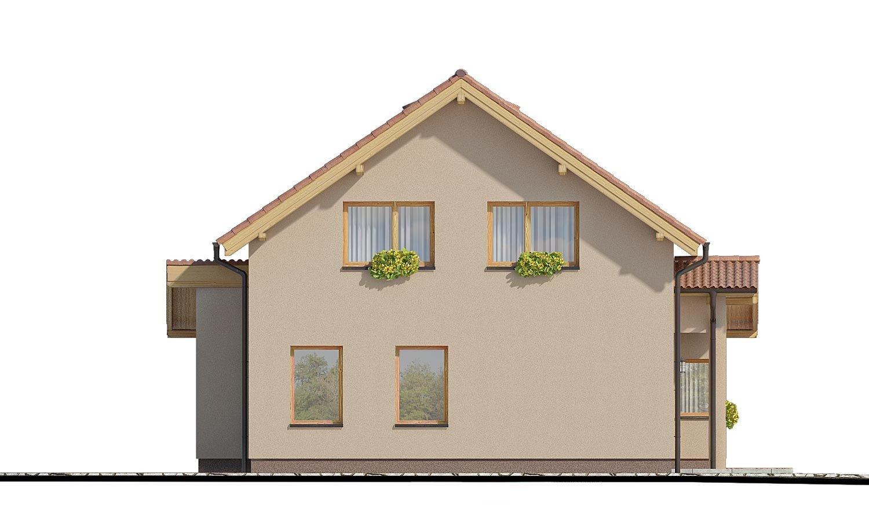 Pohľad 4. - Moderný rodinný dom s prízemnou obývačkou a kuchynskou časťou
