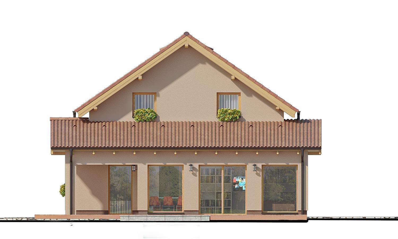 Pohľad 2. - Moderný rodinný dom s prízemnou obývačkou a kuchynskou časťou