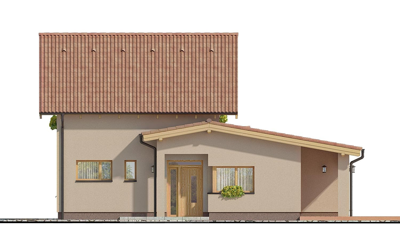 Pohľad 1. - Moderný rodinný dom s prízemnou obývačkou a kuchynskou časťou