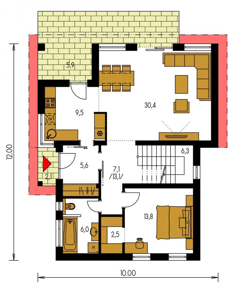 Pôdorys Prízemia - Moderný rodinný dom s prízemnou obývačkou a kuchynskou časťou.