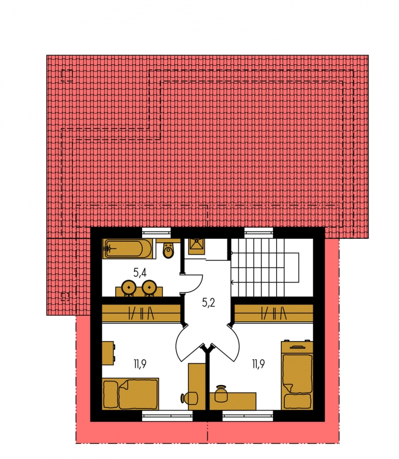 Pôdorys Poschodia - Moderný rodinný dom s prízemnou obývačkou a kuchynskou časťou.