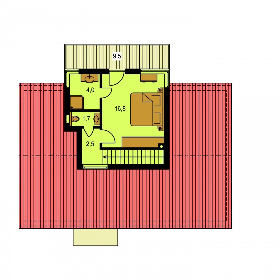 Pôdorys Poschodia - Poschodový moderný dom s plochou a sedlovou strechou