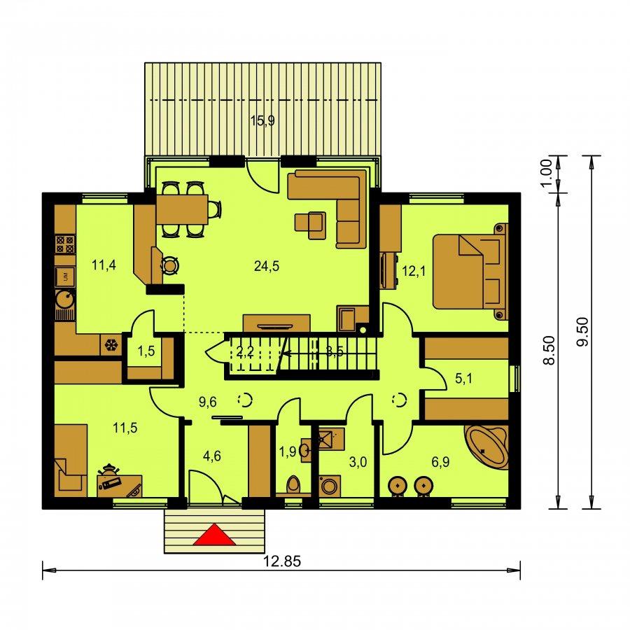 Pôdorys Prízemia - Poschodový moderný dom s plochou a sedlovou strechou