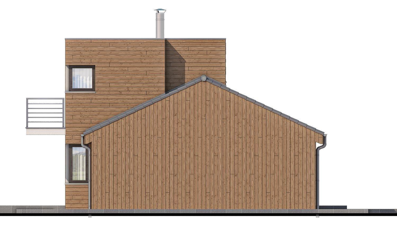 Pohľad 4. - Poschodový moderný dom s plochou a sedlovou strechou.