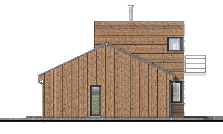 Pohľad 2. - Poschodový moderný dom s plochou a sedlovou strechou.