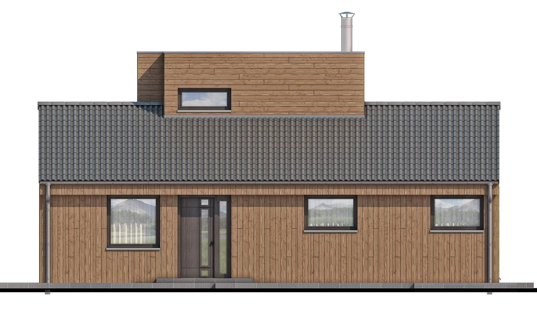Pohľad 1. - Poschodový moderný dom s plochou a sedlovou strechou.