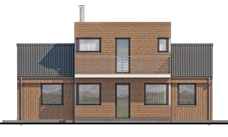 Pohľad 3. - Poschodový moderný dom s plochou a sedlovou strechou.
