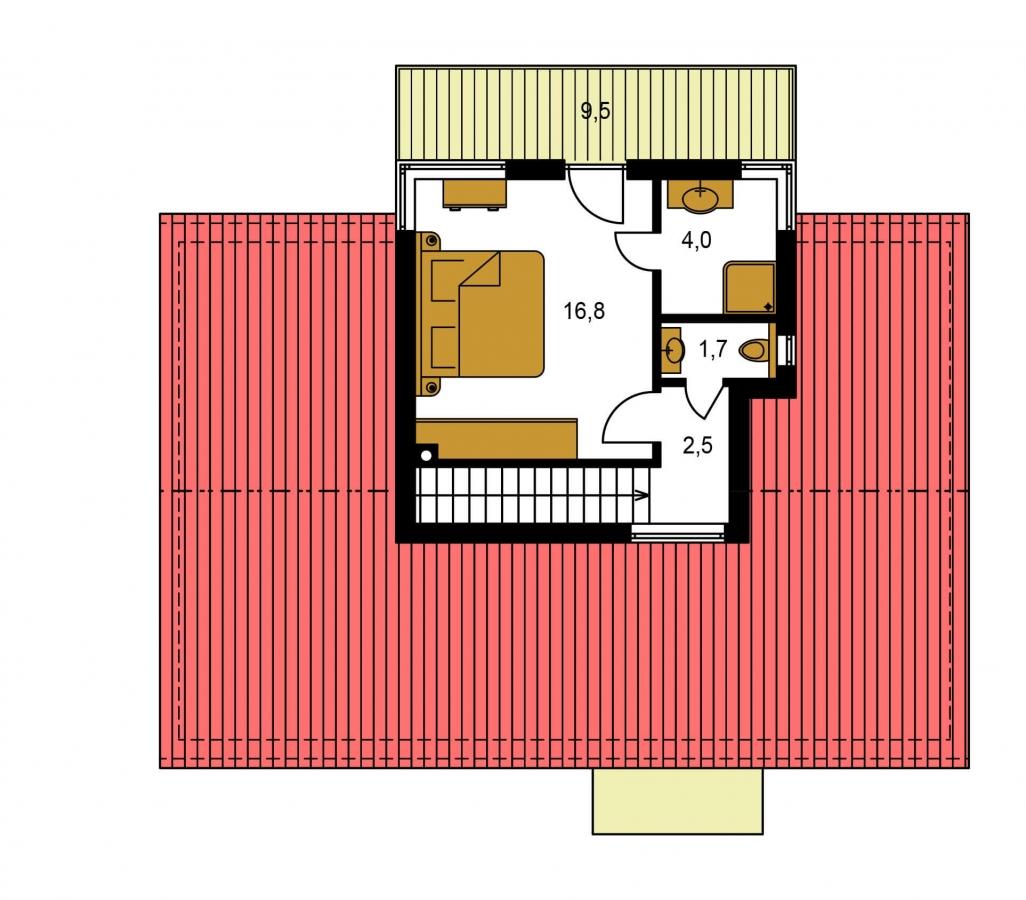 Pôdorys Poschodia - Poschodový moderný dom s plochou a sedlovou strechou.