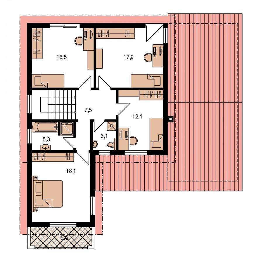 Pôdorys Poschodia - Moderný rodinný dom s garážou a terasou