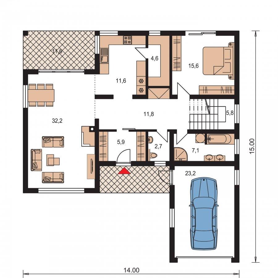 Pôdorys Prízemia - Moderný rodinný dom s garážou a terasou