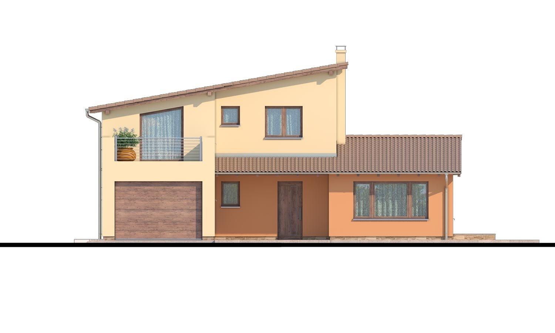 Pohľad 1. - Moderný rodinný dom s garážou a terasou