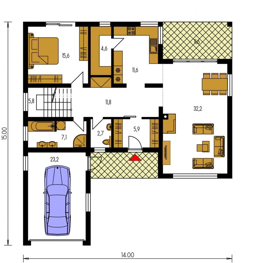 Pôdorys Prízemia - priestranný rodinný dom s garážou a terasou