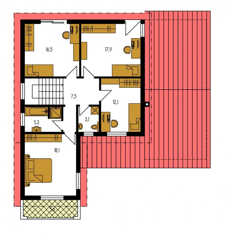 Pôdorys Poschodia - priestranný rodinný dom s garážou a terasou
