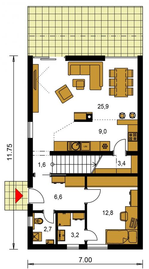 Pôdorys Prízemia - Rodinný dom pre 4-5 člennú rodinu s izbou na prízemí.