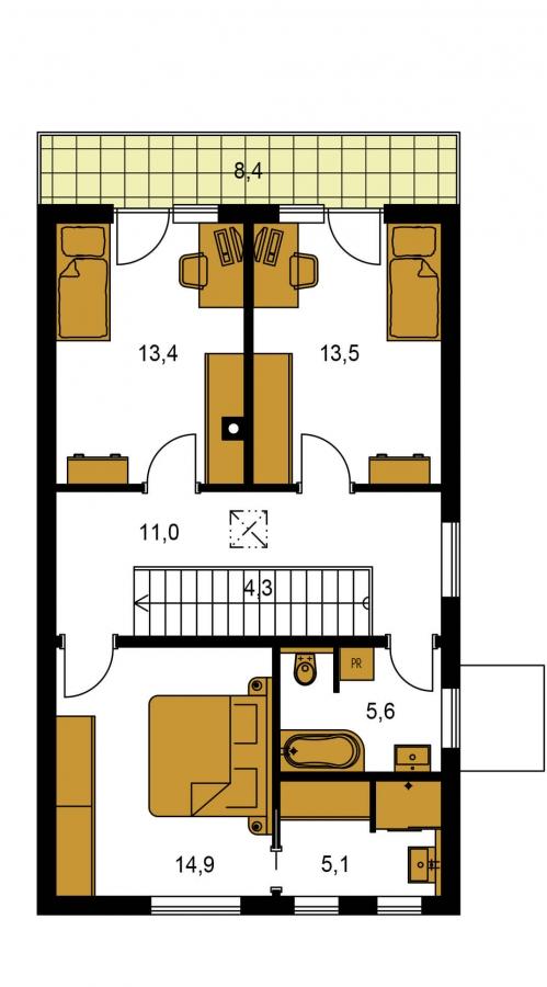 Pôdorys Poschodia - Rodinný dom pre 4-5 člennú rodinu s izbou na prízemí.