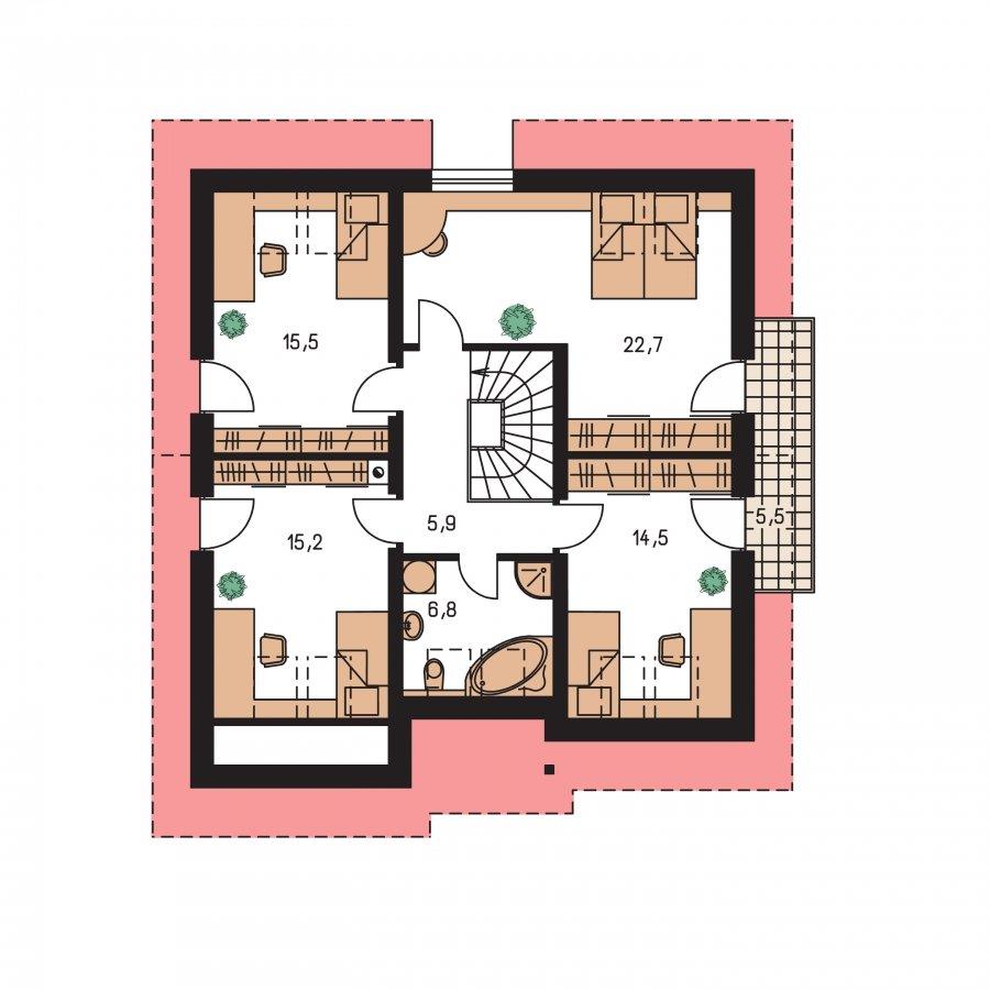 Pôdorys Poschodia - Podkrovný dom s garážou