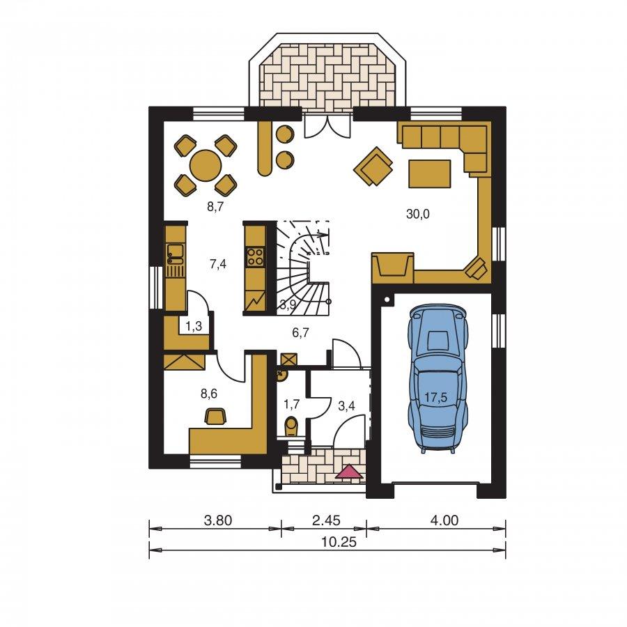 Pôdorys Prízemia - Podkrovný dom s garážou