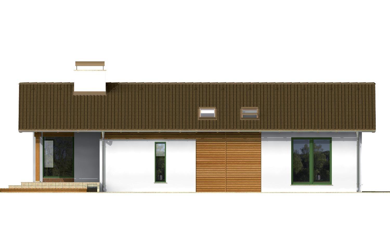 Pohľad 1. - Dom na úzky pozemok s otvorenou strešnou konšrukciou