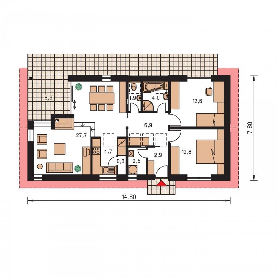 Pôdorys Prízemia - Dom na úzky pozemok s otvorenou strešnou konšrukciou