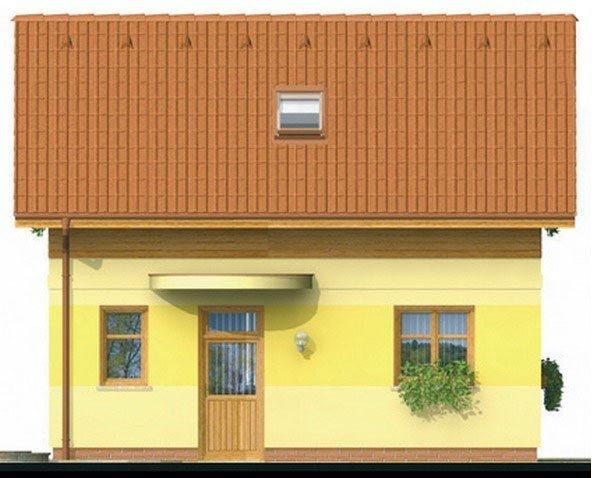 Pohľad 1. - Lacný poschodový dom na úzky pozemok, vhodný ako záhradný domček.