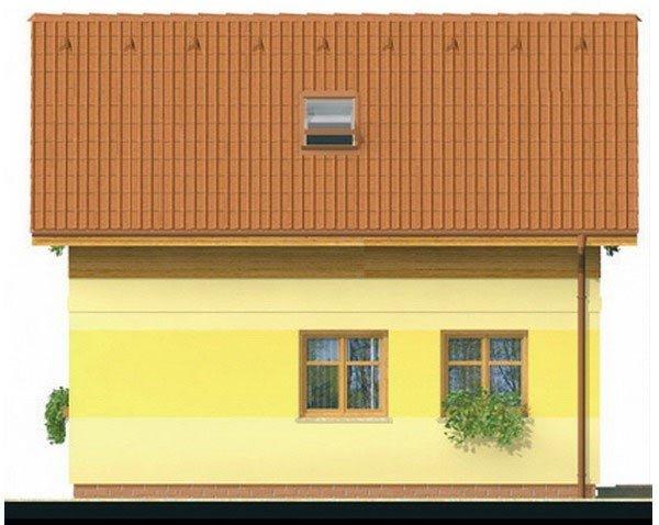 Pohľad 3. - Lacný poschodový dom na úzky pozemok, vhodný ako záhradný domček.