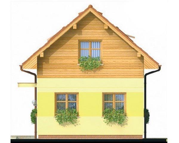 Pohľad 2. - Lacný poschodový dom na úzky pozemok, vhodný ako záhradný domček.