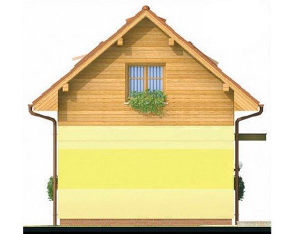 Pohľad 4. - Lacný poschodový dom na úzky pozemok, vhodný ako záhradný domček.