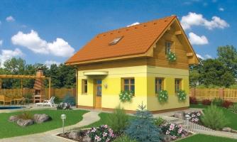 Lacný poschodový dom na úzky pozemok, vhodný ako záhradný domček.