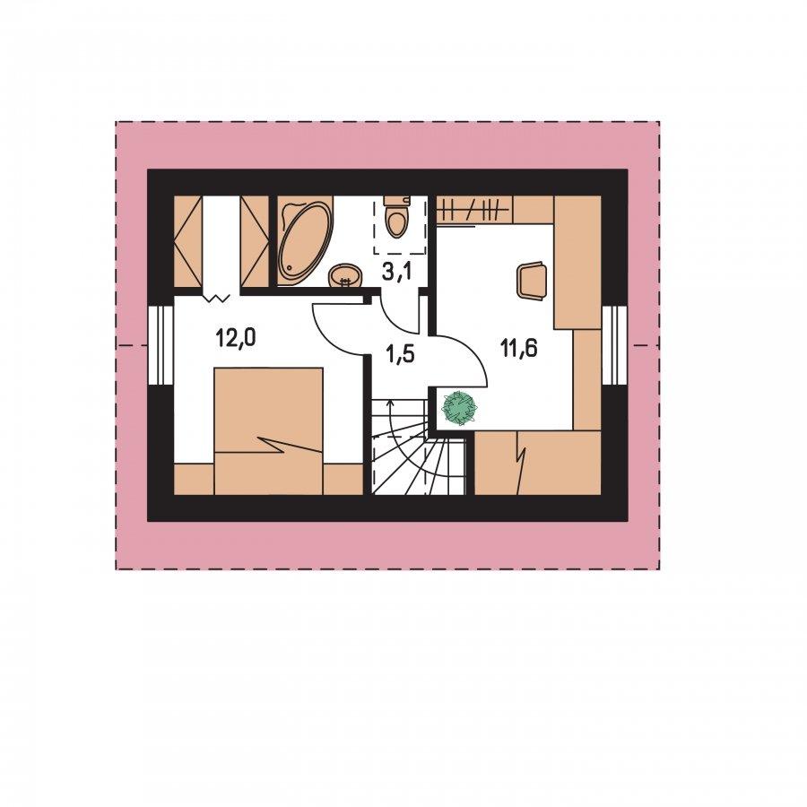 Pôdorys Poschodia - Poschodový dom na úzky pozemok, vhpdný ako chata, alebo záhradný domček