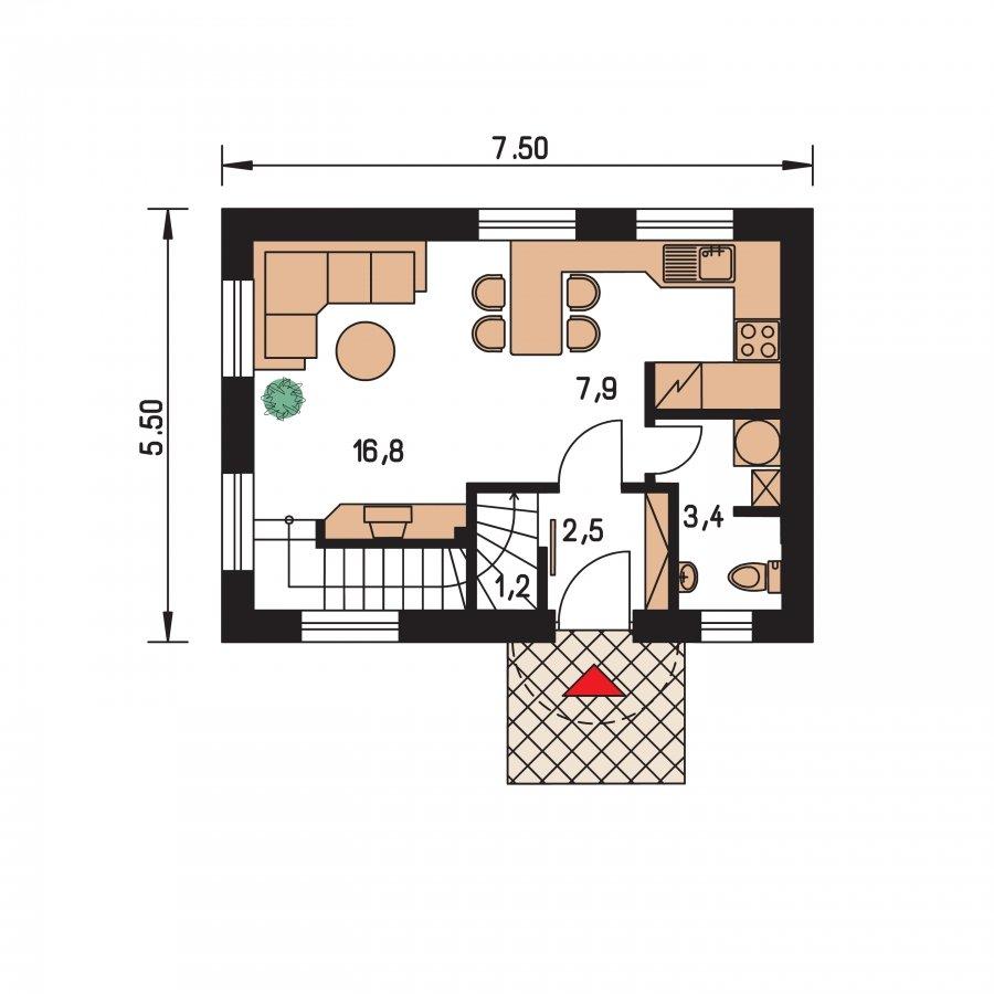 Pôdorys Prízemia - Poschodový dom na úzky pozemok, vhpdný ako chata, alebo záhradný domček