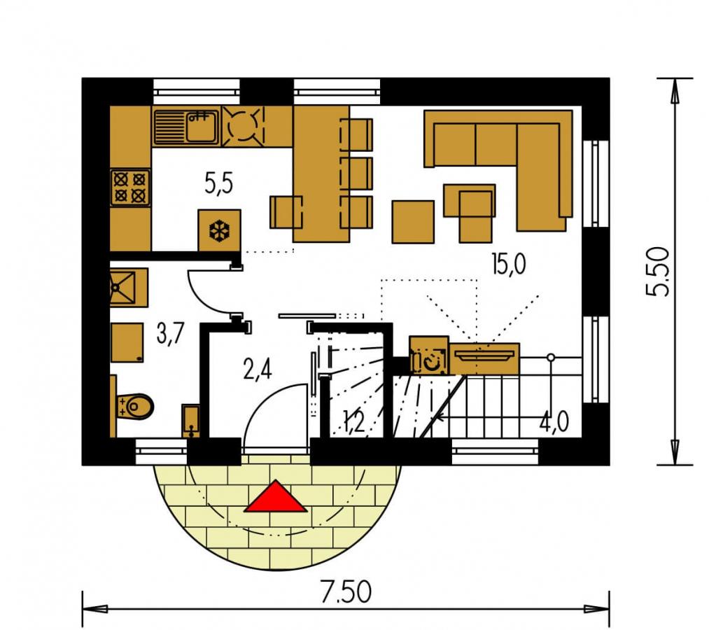 Pôdorys Prízemia - Lacný poschodový dom na úzky pozemok, vhodný ako záhradný domček.
