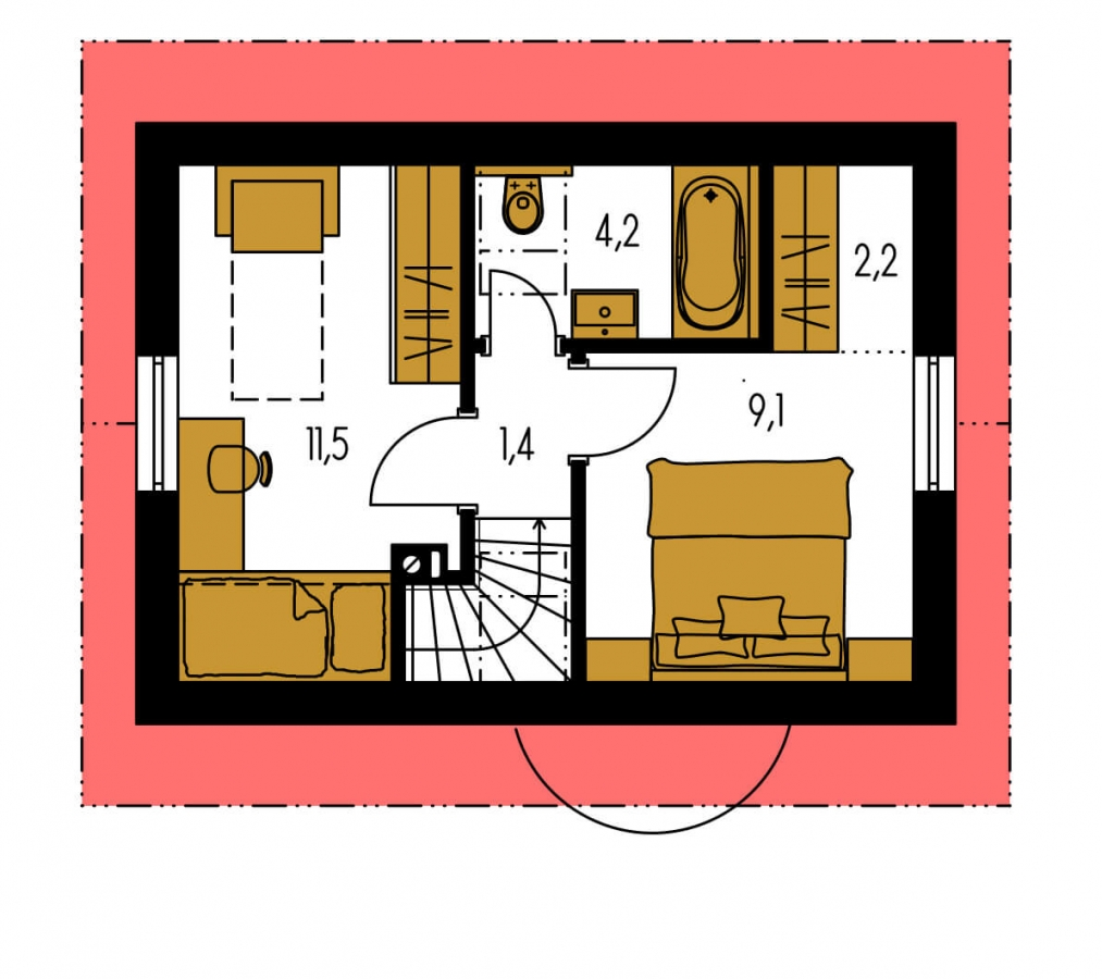 Pôdorys Poschodia - Lacný poschodový dom na úzky pozemok, vhodný ako záhradný domček.