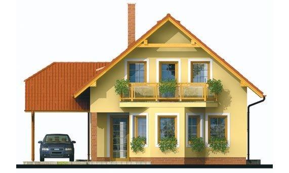 Pohľad 1. - Projekt rodinného domu na úzky pozemok, vhodný ako chata