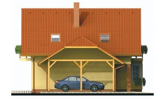 Pohľad 2. - Projekt rodinného domu na úzky pozemok, vhodný ako chata