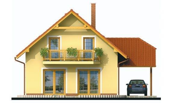 Pohľad 3. - Projekt rodinného domu na úzky pozemok, vhodný ako chata