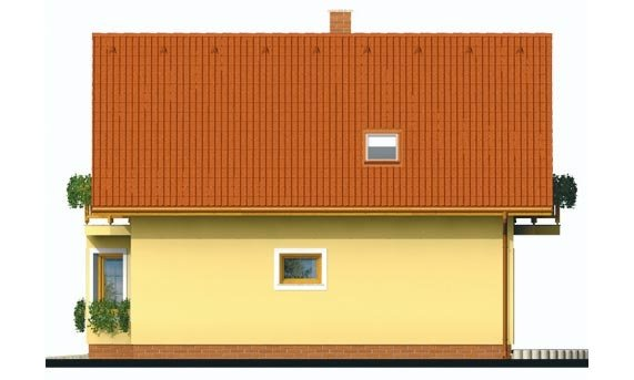 Pohľad 4. - Projekt rodinného domu na úzky pozemok, vhodný ako chata
