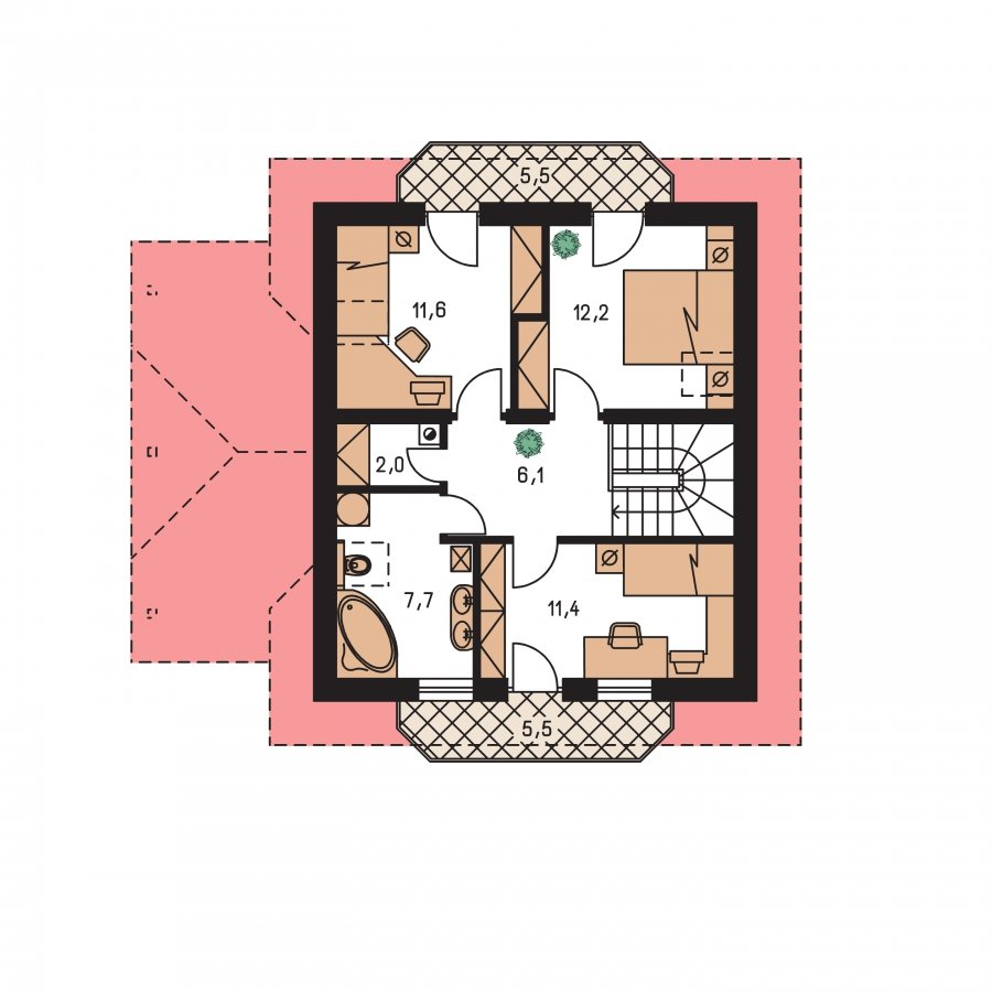 Pôdorys Poschodia - Projekt rodinného domu na úzky pozemok, vhodný ako chata