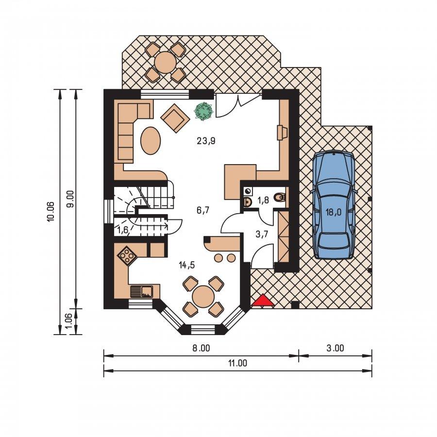 Pôdorys Prízemia - Projekt rodinného domu na úzky pozemok, vhodný ako chata