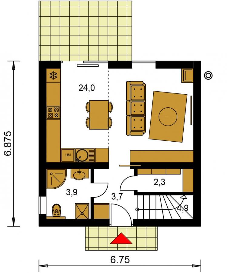 Pôdorys Prízemia - Malý rodinný dom vhodný aj ako rekreačná chata.